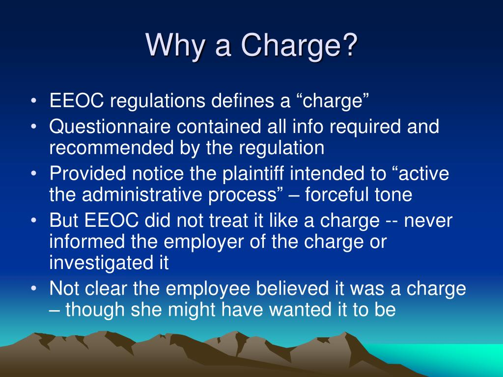 Why a Charge?