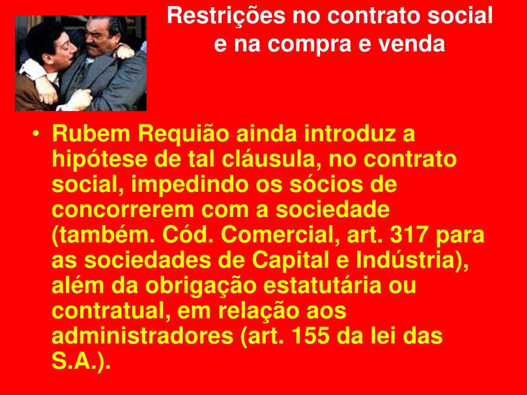 Restrições no contrato social e na compra e venda