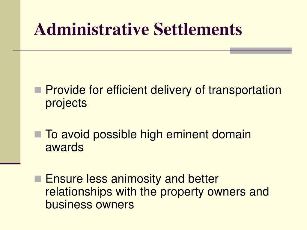 Administrative Settlements