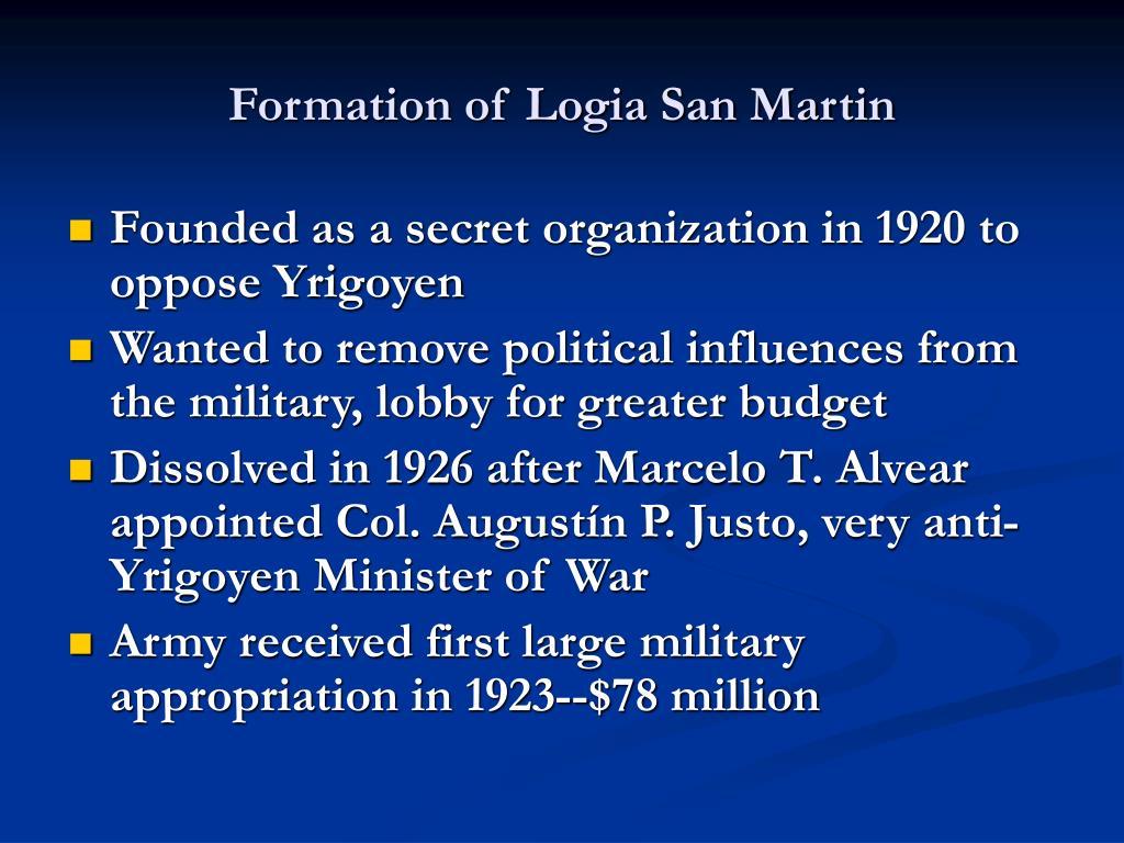 Formation of Logia San Martin