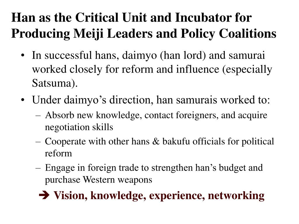 Han as the Critical Unit and Incubator for Producing Meiji Leaders and Policy Coalitions