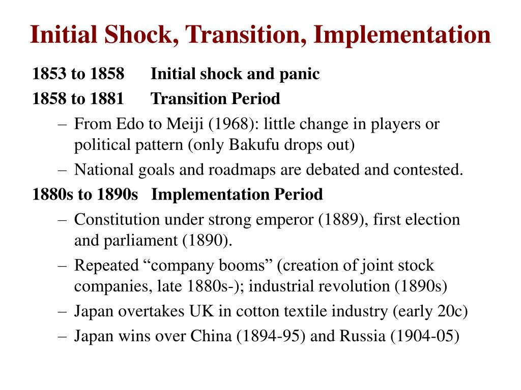 Initial Shock, Transition, Implementation
