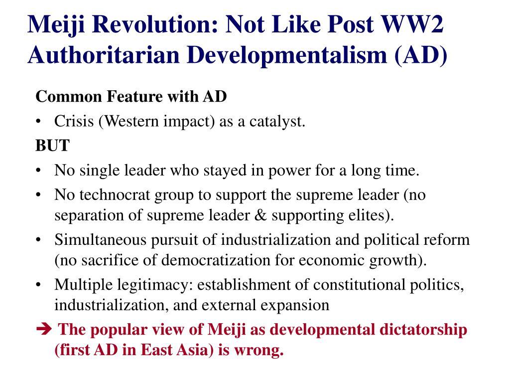 Meiji Revolution: Not Like Post WW2 Authoritarian Developmentalism (AD)