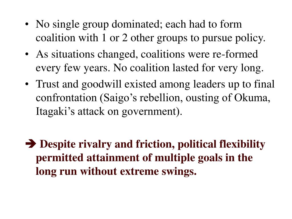 No single group dominated; each had to form coalition with 1 or 2 other groups to pursue policy.