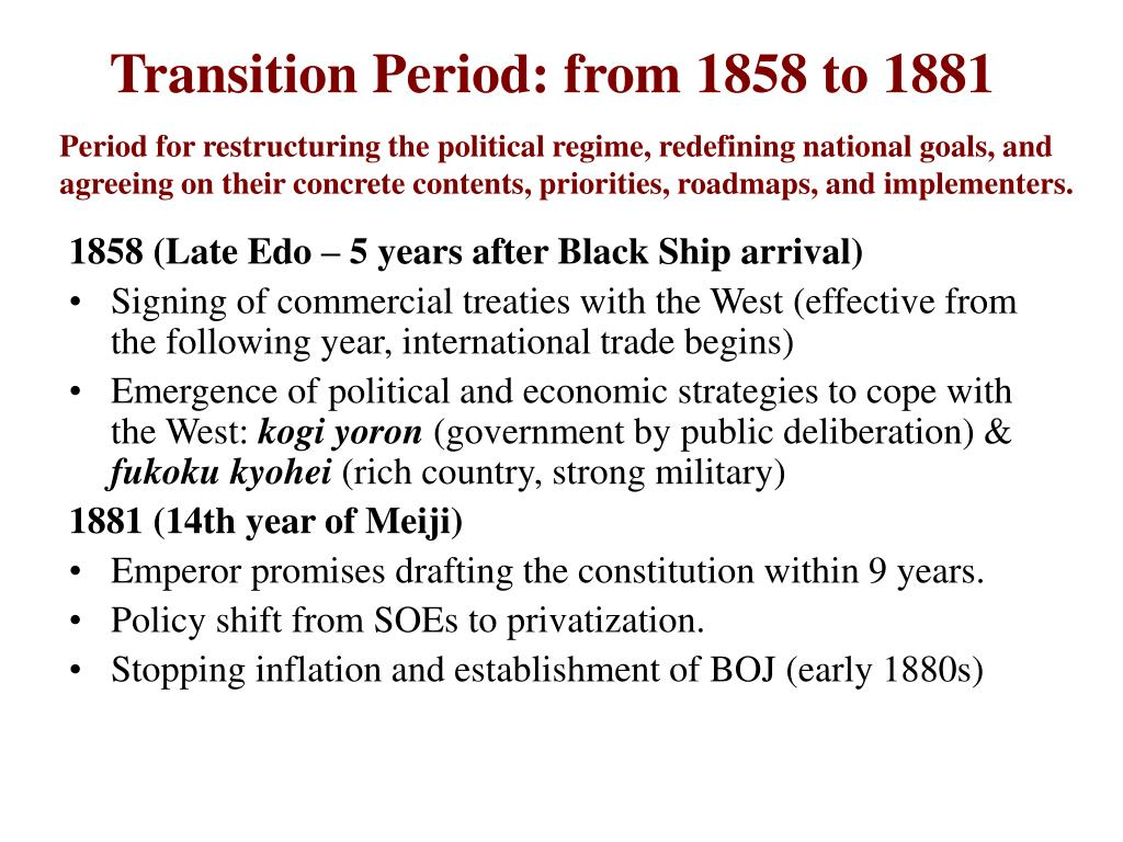 Transition Period: from 1858 to 1881
