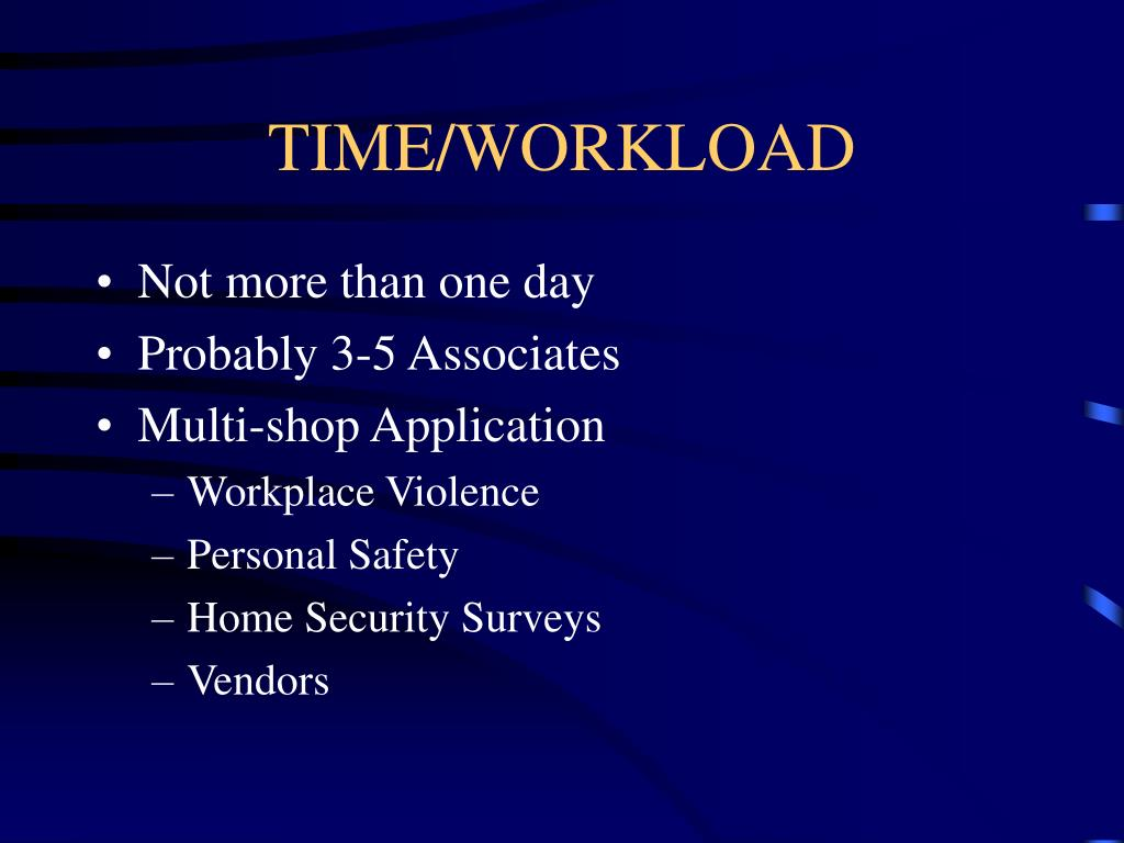 TIME/WORKLOAD