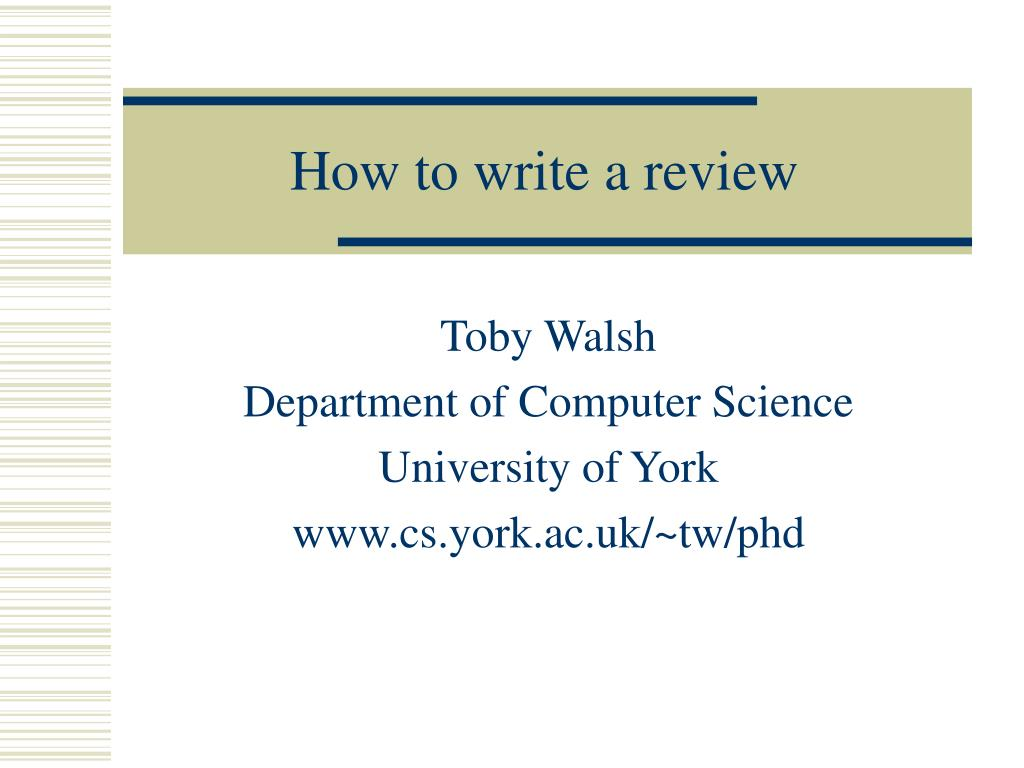 How to write a review