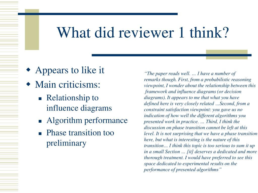 What did reviewer 1 think?