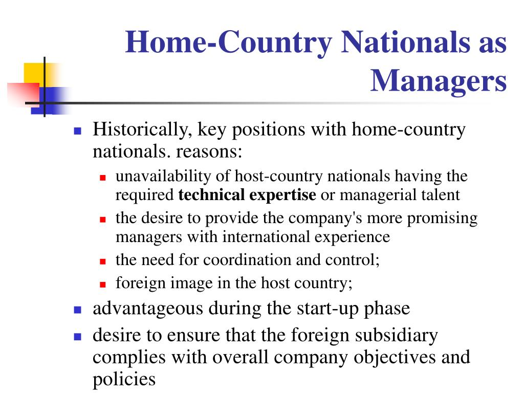 Home-Country Nationals as Managers