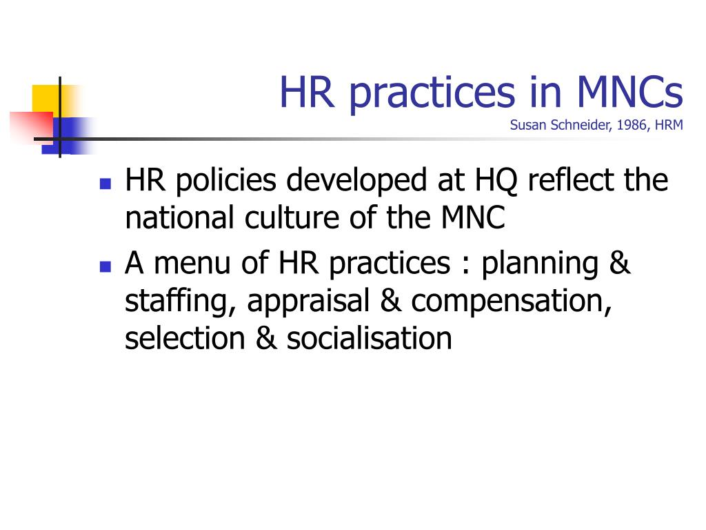 HR practices in MNCs