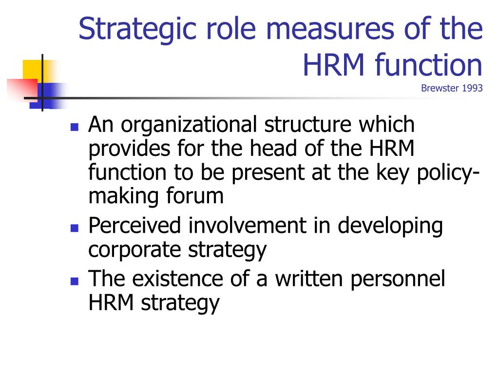 Strategic role measures of the HRM function