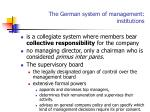 the german system of management institutions