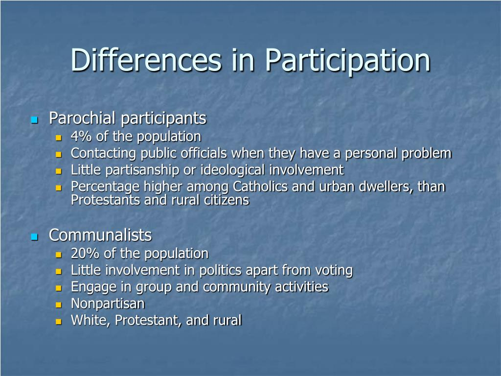 Differences in Participation