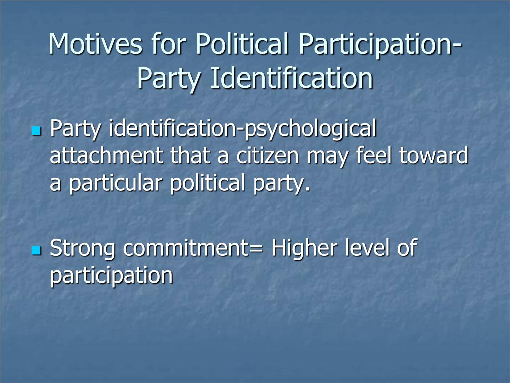 Motives for Political Participation-Party Identification