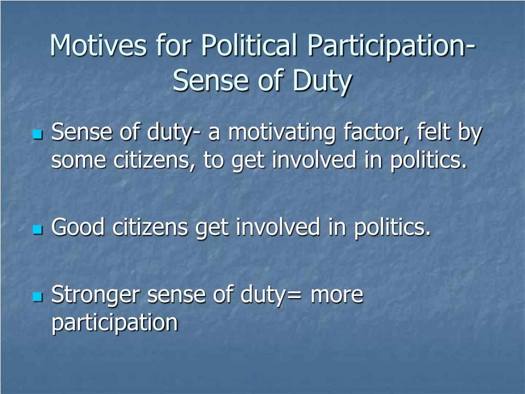 Motives for Political Participation-Sense of Duty