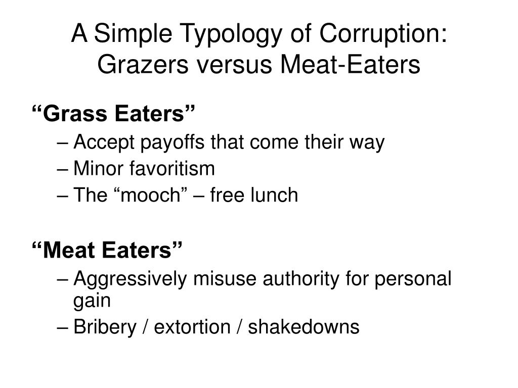 A Simple Typology of Corruption: