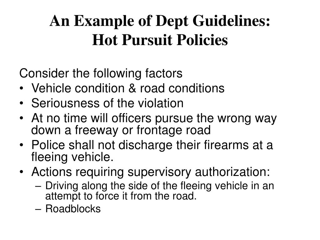 An Example of Dept Guidelines: