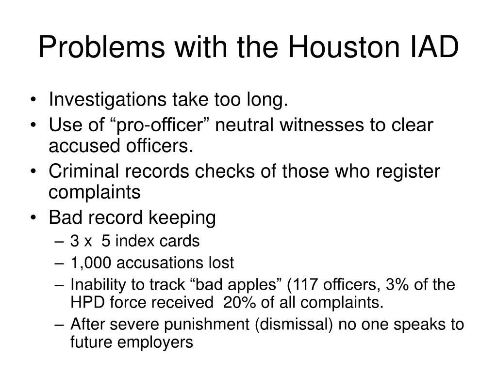 Problems with the Houston IAD