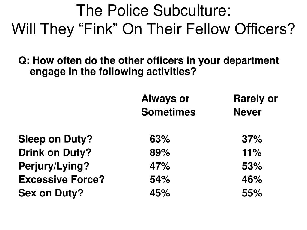 The Police Subculture: