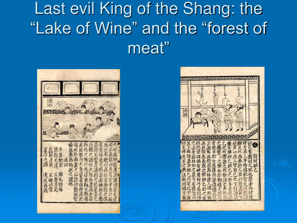"Last evil King of the Shang: the ""Lake of Wine"" and the ""forest of meat"""