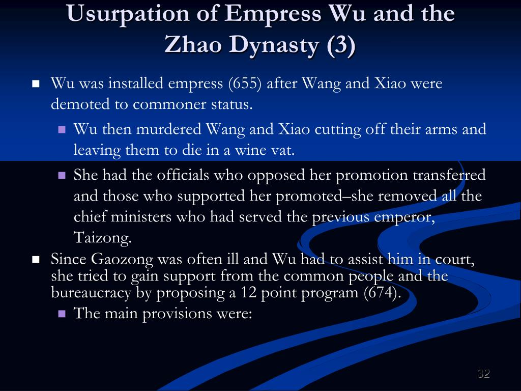 Usurpation of Empress Wu and the