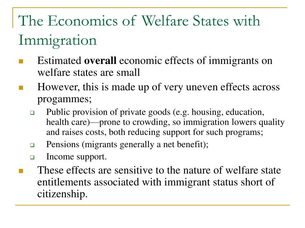 The Economics of Welfare States with Immigration