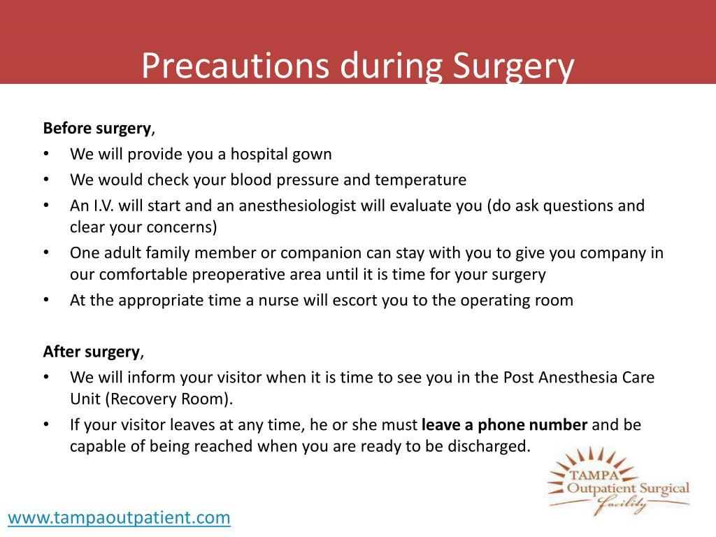Precautions during Surgery