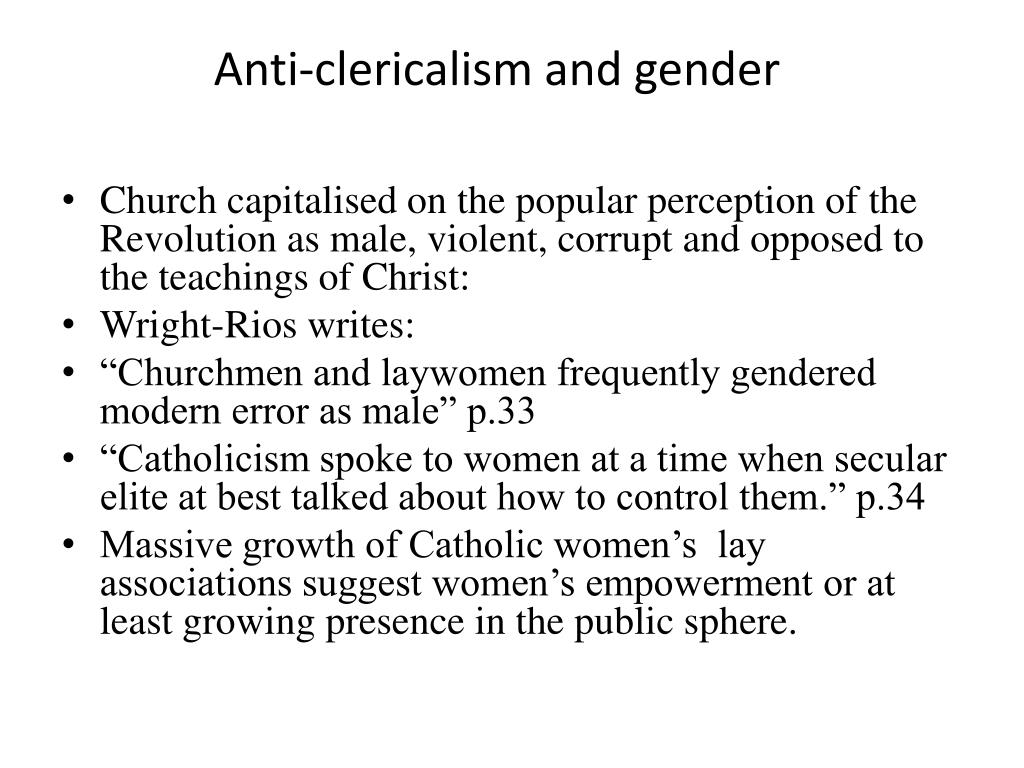 Anti-clericalism and gender