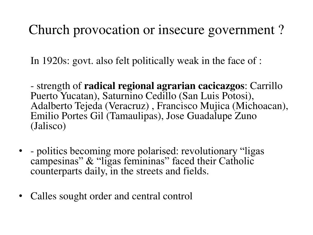 Church provocation or insecure government ?