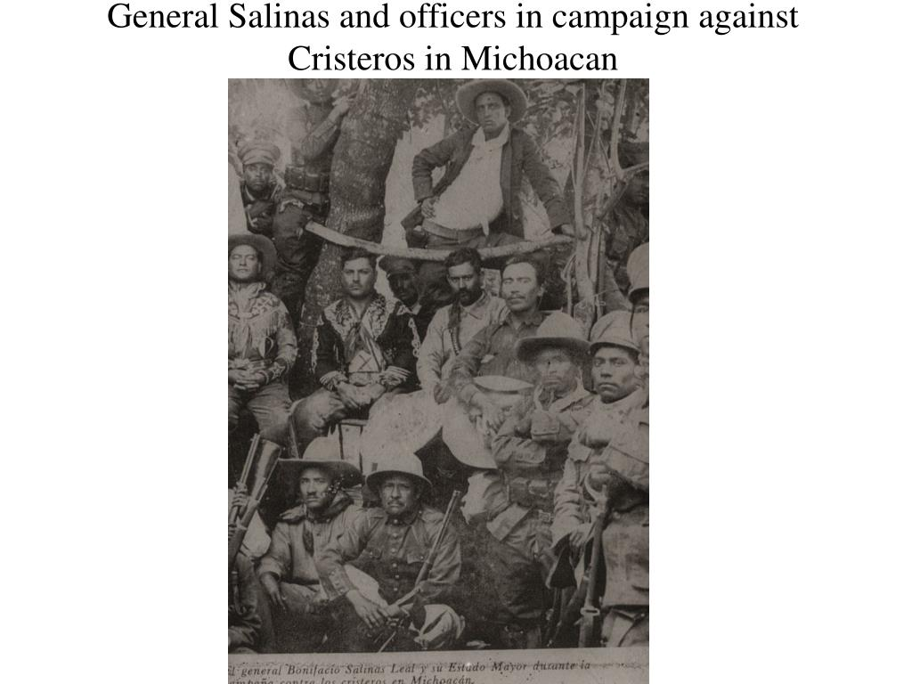 General Salinas and officers in campaign against Cristeros in Michoacan