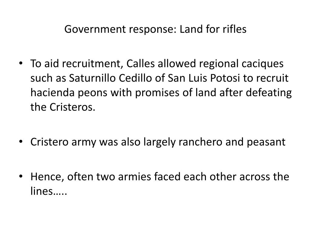 Government response: Land for rifles
