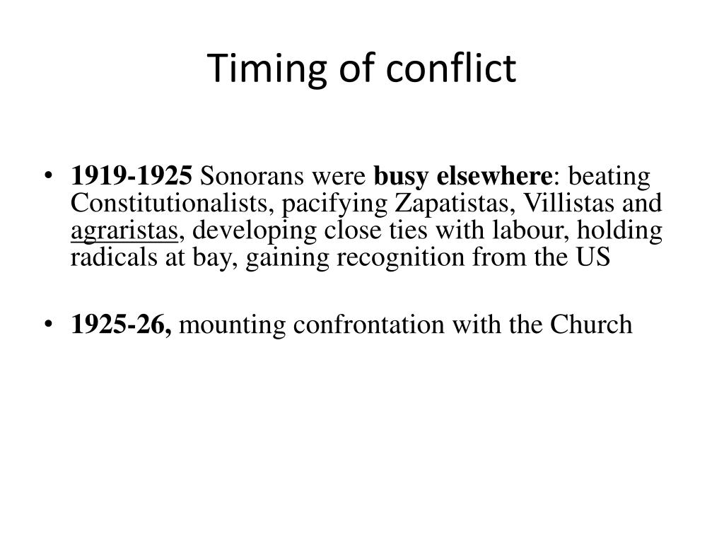 Timing of conflict