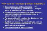 how can we increase political feasibility