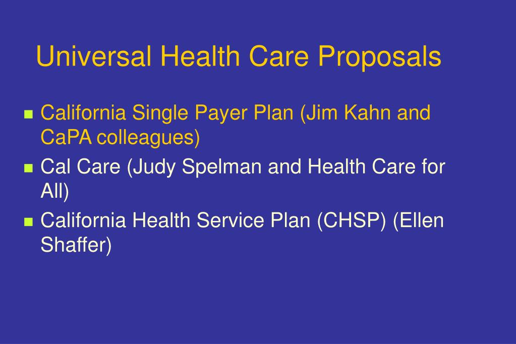 Universal Health Care Proposals