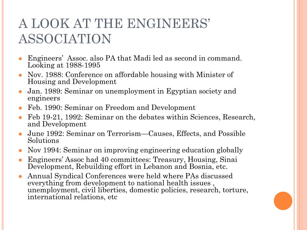 A LOOK AT THE ENGINEERS' ASSOCIATION