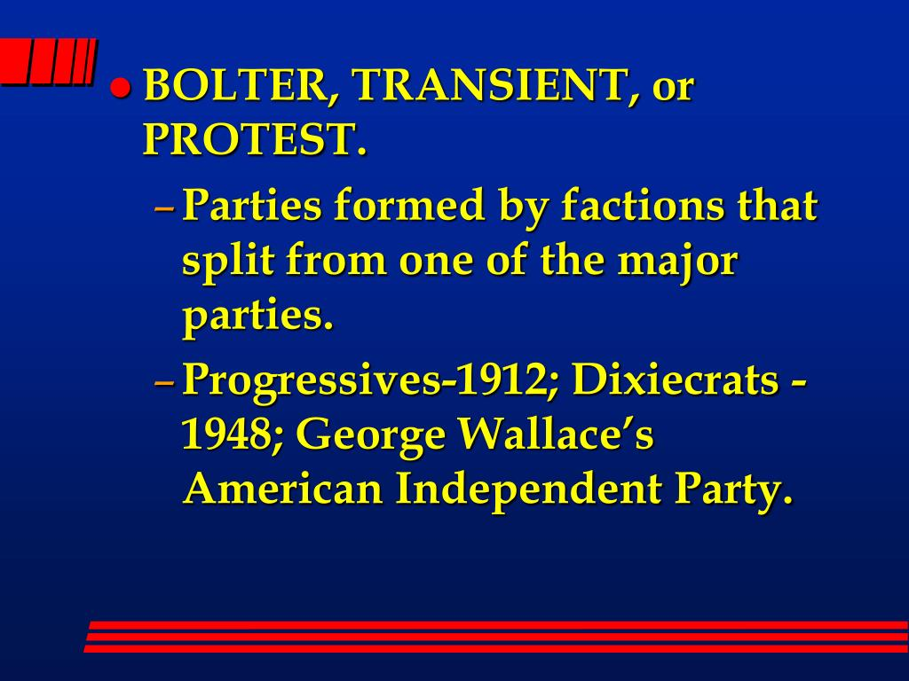 BOLTER, TRANSIENT, or PROTEST.
