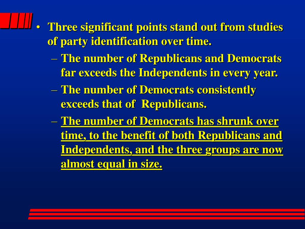 Three significant points stand out from studies of party identification over time.