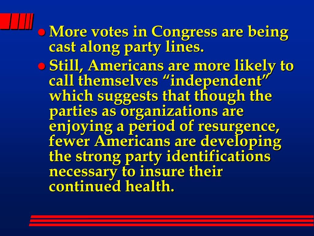 More votes in Congress are being cast along party lines.