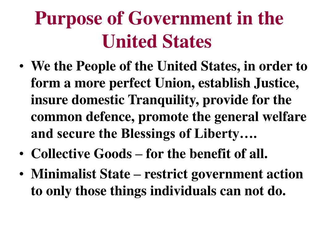 Purpose of Government in the United States