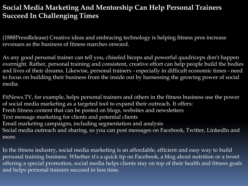 Social Media Marketing And Mentorship Can Help Personal Trainers Succeed In Challenging Times