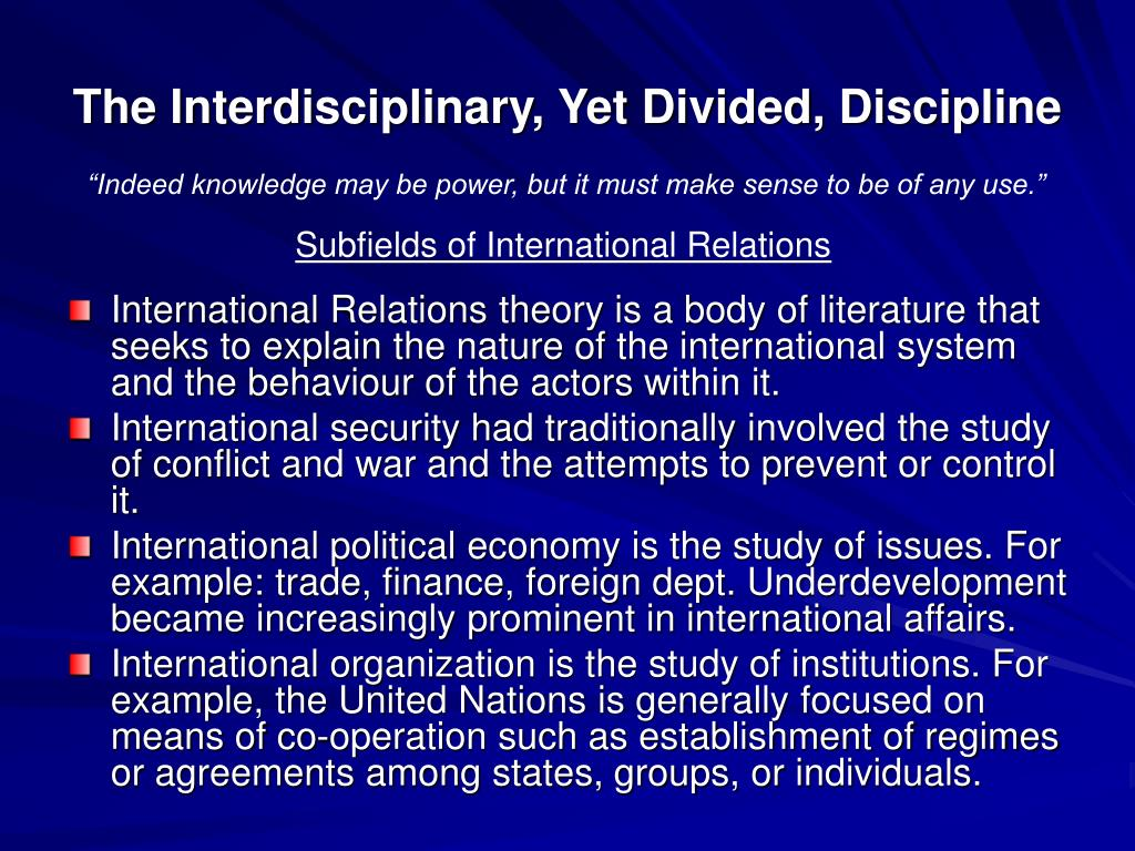 The Interdisciplinary, Yet Divided, Discipline