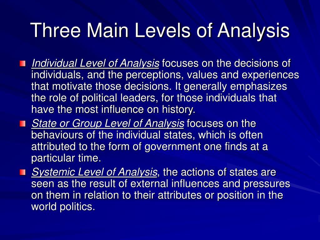 Three Main Levels of Analysis