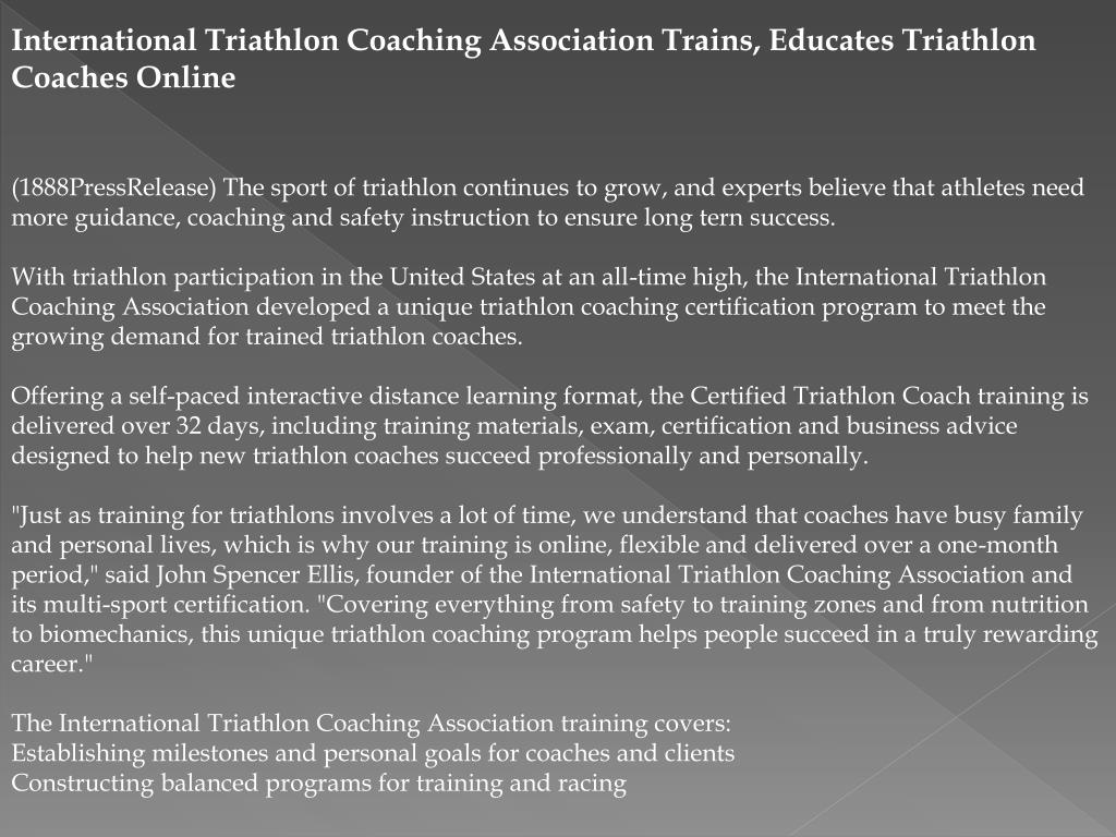 International Triathlon Coaching Association Trains, Educates Triathlon Coaches Online