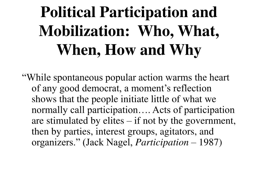 Political Participation and Mobilization:  Who, What, When, How and Why