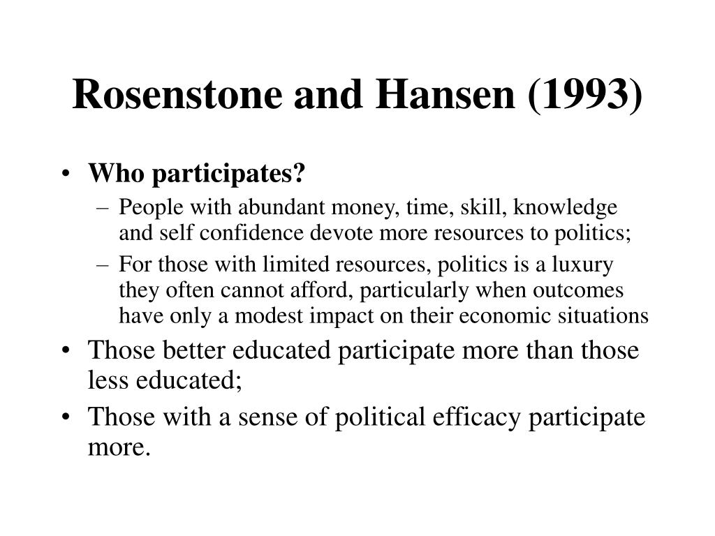 Rosenstone and Hansen (1993)