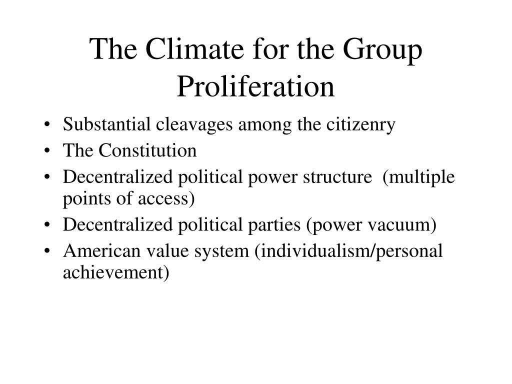The Climate for the Group Proliferation