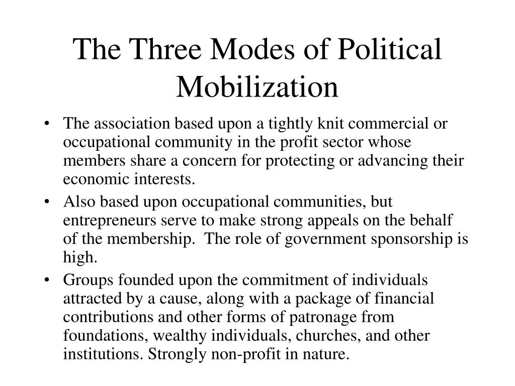 The Three Modes of Political Mobilization