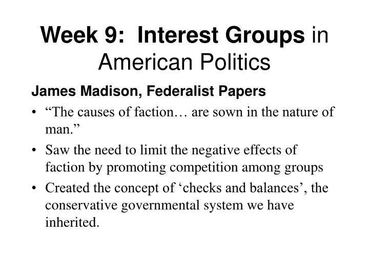 Week 9 interest groups in american politics