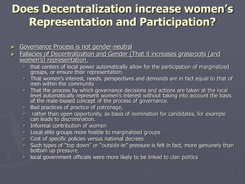 Does Decentralization increase women's Representation and Participation?
