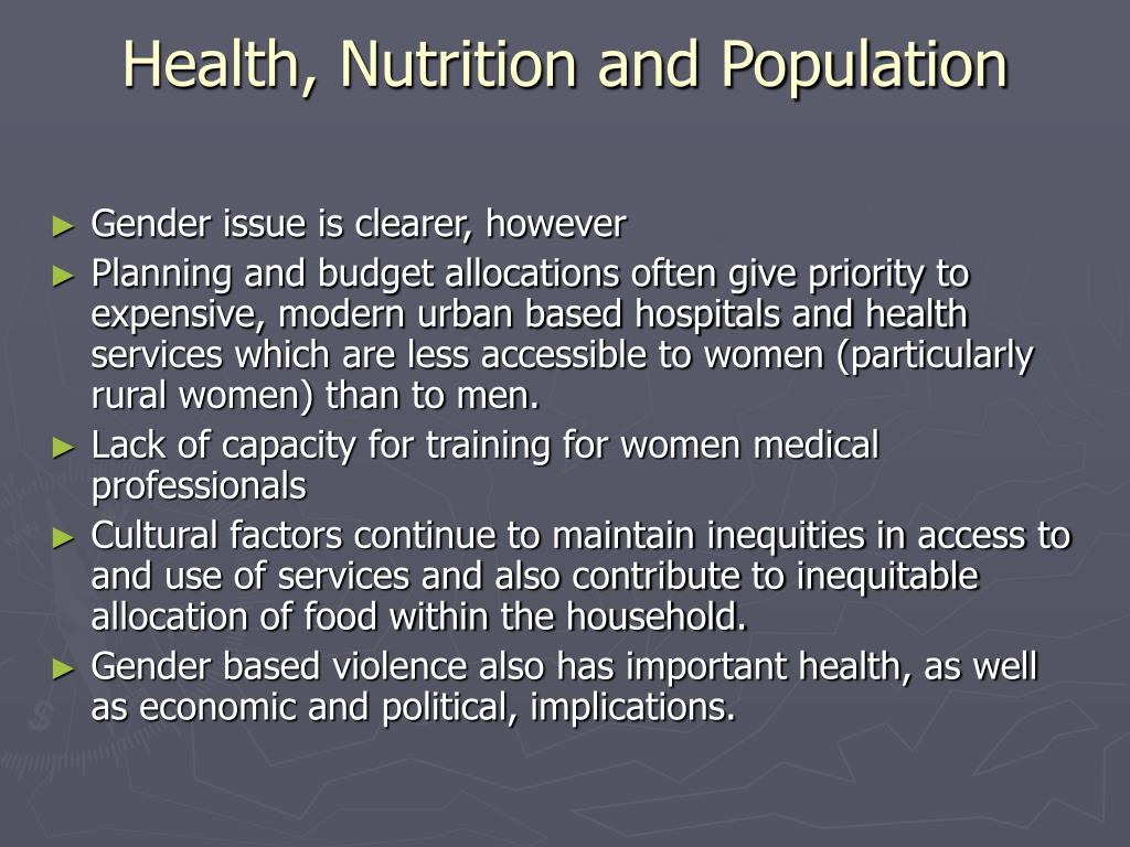 Health, Nutrition and Population